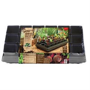Grow-it Tray 18x9cm potjes vierkant+bewatering (3) 084.54